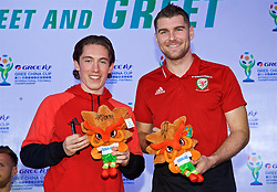 NANNING, CHINA - Saturday, March 24, 2018: Wales' Harry Wilson and Sam Vokes sign toy mascots for supporters during a meet & greet event at the Nanning Wanda Mall during the 2018 Gree China Cup International Football Championship. (Pic by David Rawcliffe/Propaganda)