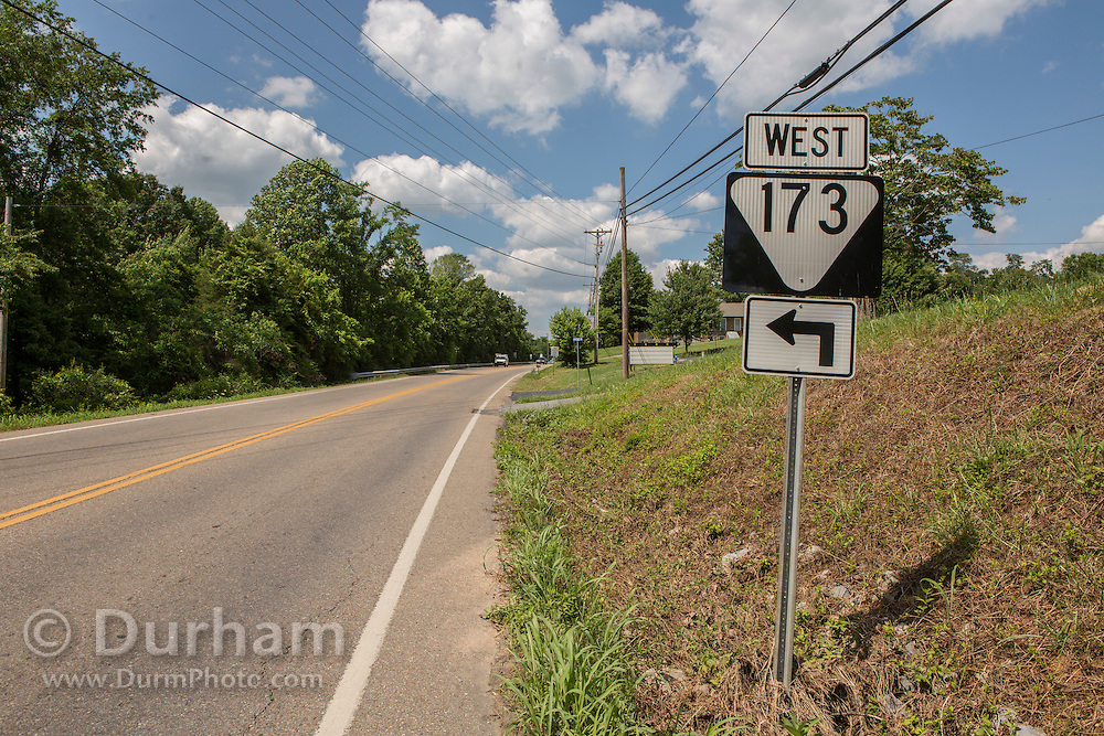 The exit for highway 173 off of Erwin highway 107 just leaving the little town of Unicoi in Unicoi County, Tennessee.