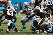 Jonathan Stewart(28) takes on Marcus Williams(43) and Vonn Bell(48) for some tough yardage in the New Orleans Saints 34 to 13 victory over the Carolina Panthers.