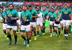 Frans Malherbe of South Africa and Willie le Roux of South Africa - Mandatory by-line: Steve Haag/JMP - 16/06/2018 - RUGBY - Toyota Stadium - Bloemfontein, South Africa - South Africa v England Second Test, South Africa Tour