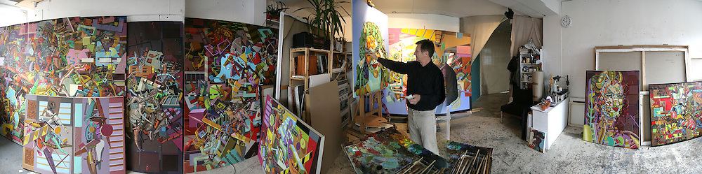 Waleri Martynchik in his studio in Shoreditch. August 2007. -DO NOT ARCHIVE-© Copyright Photograph by Dafydd Jones. 248 Clapham Rd. London SW9 0PZ. Tel 0207 820 0771. www.dafjones.com.