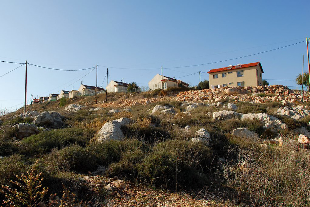 YITZHAR, ISRAEL - NOV 20, 2009 : A general view of the settlement Yitzhar. Yitzhar is an Israeli settlement located in the Samarian mountains of the West Bank near Nablus/Shechem just off Route 60 north of the Tapuach Junction. The Hebrew term 'Yitzhar' is a biblical term, meaning high quality olive oil, and derives from one of the region's major industries. The village was originally established as a pioneer Nahal military outpost and demilitarized only a year later when turned over to residential purposes in 1984 with the assistance of the Amana settlement organization. Photo by Gili Yaari / Flash 90