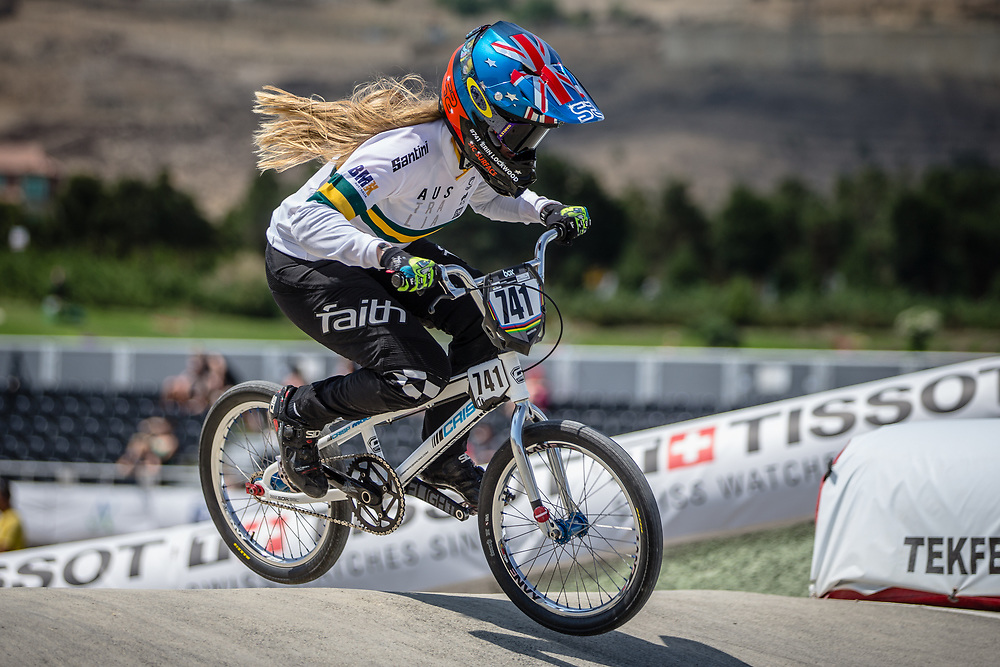 Women Elite #741 (LOCKWOOD Erin) AUS at the 2018 UCI BMX World Championships in Baku, Azerbaijan.