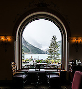 Chateau Lake Louise lobby cafe. Banff National Park, Alberta, Canada.