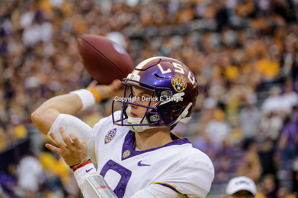 Oct 20, 2018; Baton Rouge, LA, USA; LSU Tigers quarterback Joe Burrow (9) before kickoff against the Mississippi State Bulldogs at Tiger Stadium. Mandatory Credit: Derick E. Hingle-USA TODAY Sports