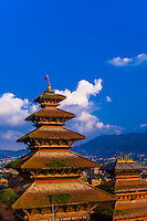 Nyatapola Pagoda and Bhairav Temple in Taumadhi Square, Bhaktapur, Kathmandu Valley, Nepal.