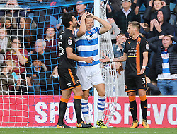 QPR's Matt Smith reacts after heading wide during the Sky Bet Championship match at Loftus Road, London.