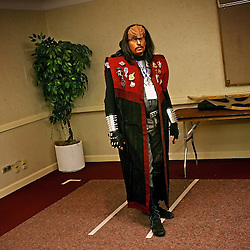 Kyle Green | The Roanoke Times<br /> March 01, 2009 - Roger Miller waits in a boardroom to give a lecture on Klingon dress at the Holiday Inn in Roanoke, Virginia during the 17th annual SheVaCon science fiction and fantasy convention. Miller, who has been dressing like a Klingon for 8 years, is a member of IKV Bat'leth, a Klingon based Star Trek fan club of South-Eastern Virginia.
