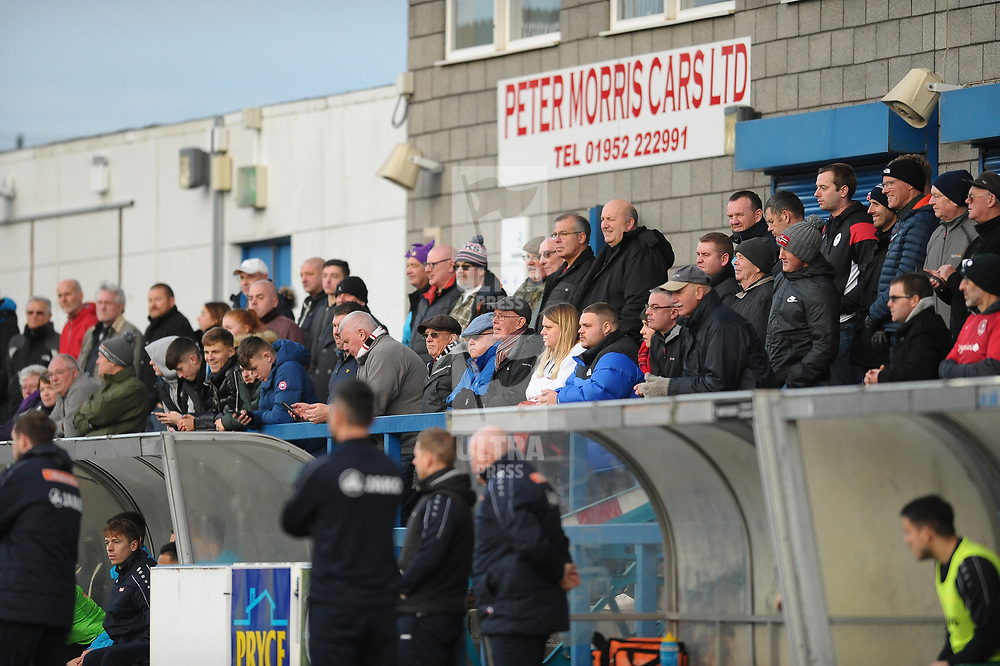 TELFORD COPYRIGHT MIKE SHERIDAN Telford fans during the Vanarama Conference North fixture between AFC Telford and Farsley Celtic at the New Bucks head Stadium on Saturday, December 7, 2019.<br /> <br /> Picture credit: Mike Sheridan/Ultrapress<br /> <br /> MS201920-033