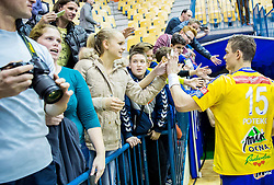 Vid Poteko of Celje PL celebrates with fans after winning during handball match between RK Celje Pivovarna Lasko (SLO) and Rhein-Neckar Loewen (GER) in Round 6 of EHF Champions League 2014/15, on November 23, 2014 in Arena Zlatorog, Celje, Slovenia. Photo by Vid Ponikvar / Sportida