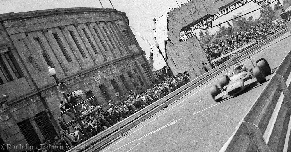 British driver, Jackie Stewart, during the 1969 Spanish Grand Prix at the Montjuïc urban circuit in Barcelona, Spain.