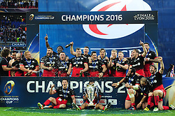 The Saracens team celebrate - Mandatory byline: Patrick Khachfe/JMP - 07966 386802 - 14/05/2016 - RUGBY UNION - Grand Stade de Lyon - Lyon, France - Saracens v Racing 92 - European Rugby Champions Cup Final.