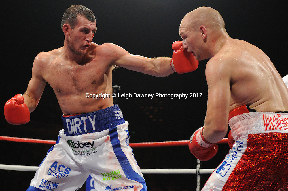 Gavin Rees defeats Derry Mathews for the British Lightweight & European Lightweight Titles at the Motorpoint Arena, Sheffield, United Kingdom on the 7th July 2012. Promoted by Matchroom Sport. ©Leigh Dawney Photography 2012.