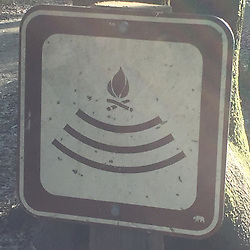 Sign Pointing Way to Amphitheater Firepit at Campground, China Camp State Park, San Rafael, California, US