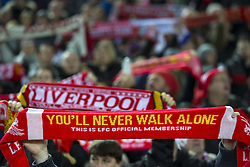 Halbfinale im Liga-Pokal Liverpool vs Leeds 1:0 in Liverpool / 291116<br /> <br /> ***LIVERPOOL, ENGLAND 29TH NOVEMBER 2016:<br /> Liverpool scarves are held up  during the English League Cup soccer match between Liverpool and Leeds at Anfield Stadium in Liverpool England November 29th 2016***