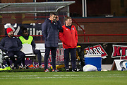31st October 2018, Kilmac Stadium, Dundee, Scotland; Ladbrokes Premiership football, Dundee v Celtic; Dundee manager Jim McIntyre and assistant Jimmy Boyle
