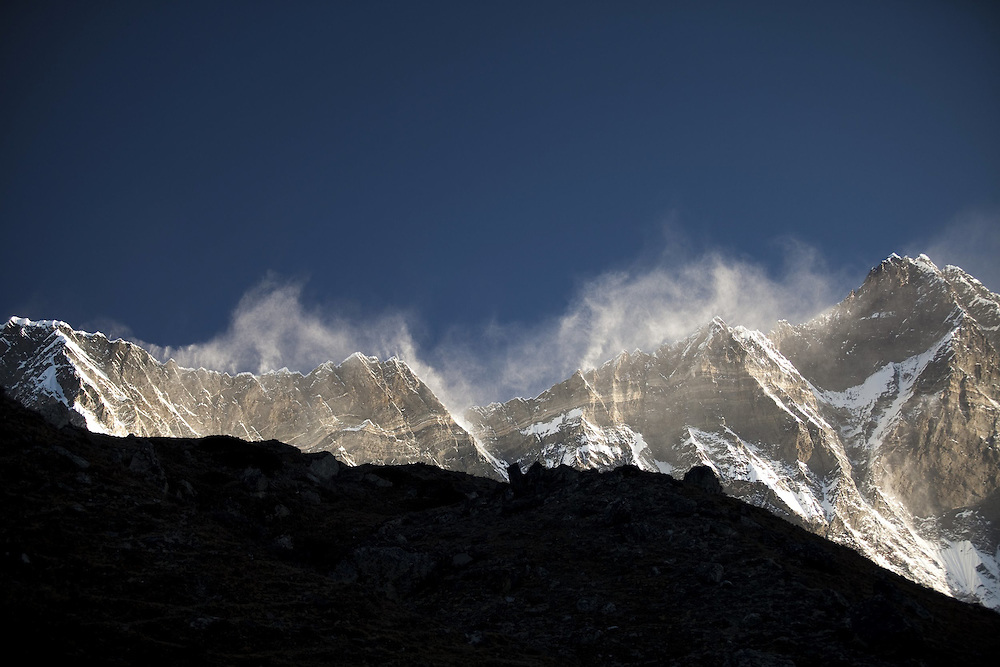 October 2009 WWF Everest - en route Dengboche to Chukung looking at Everest Range