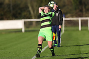 Forest Green Rovers Jessica Phillips(2) takes a throw in during the South West Womens Premier League match between Forest Greeen Rovers Ladies and Marine Academy Plymouth LFC at Slimbridge FC, United Kingdom on 5 November 2017. Photo by Shane Healey.