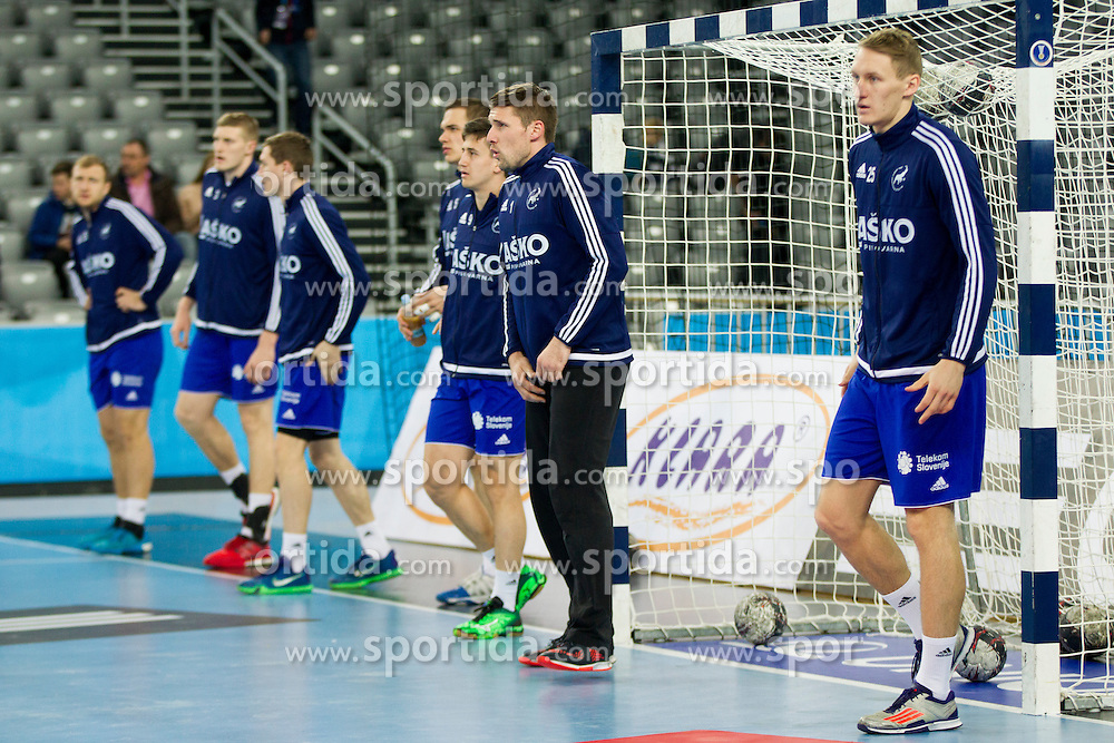 Players of RK Celje Pivovarna Lasko during handball match between PPD Zagreb (CRO) and RK Celje Pivovarna Lasko (SLO) in 13th Round of Group Phase of EHF Champions League 2015/16, on February 27, 2016 in Arena Zagreb, Zagreb, Croatia. Photo by Urban Urbanc / Sportida