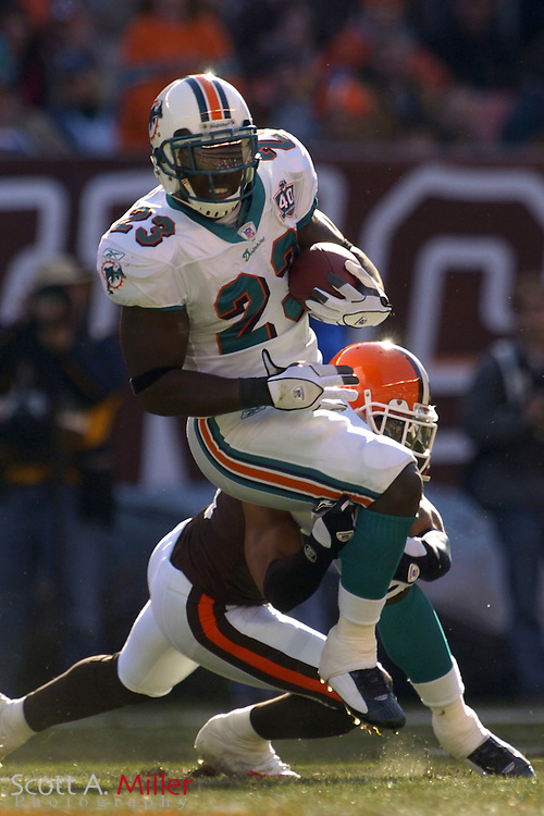 Miami Dolphins running back Ronnie Brown (23) in action during the Dolphins game against the Cleveland Browns at Cleveland Browns Stadium on Nov. 20, 2005 in Cleveland, Ohio.        ..©2005 Scott A. Miller
