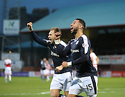 Dundee&rsquo;s Kane Hemmings celebrates after scoring the second of his hat-trick - Dundee v Hamilton, Ladbrokes Premiership at Dens Park<br /> <br />  - &copy; David Young - www.davidyoungphoto.co.uk - email: davidyoungphoto@gmail.com