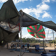 The tent of Palestinian Circus School, (in Birzeit, near Ramallah). Shadi Zmorrod and Jessika Devlieghere started up e permanent circus school in Palestine on 2006, but only in february 2007 could the team raise the first funds to rent a training space and start teaching in Ramallah, Hebron and Jenin. The PSC (Palestinian Circus School) was born