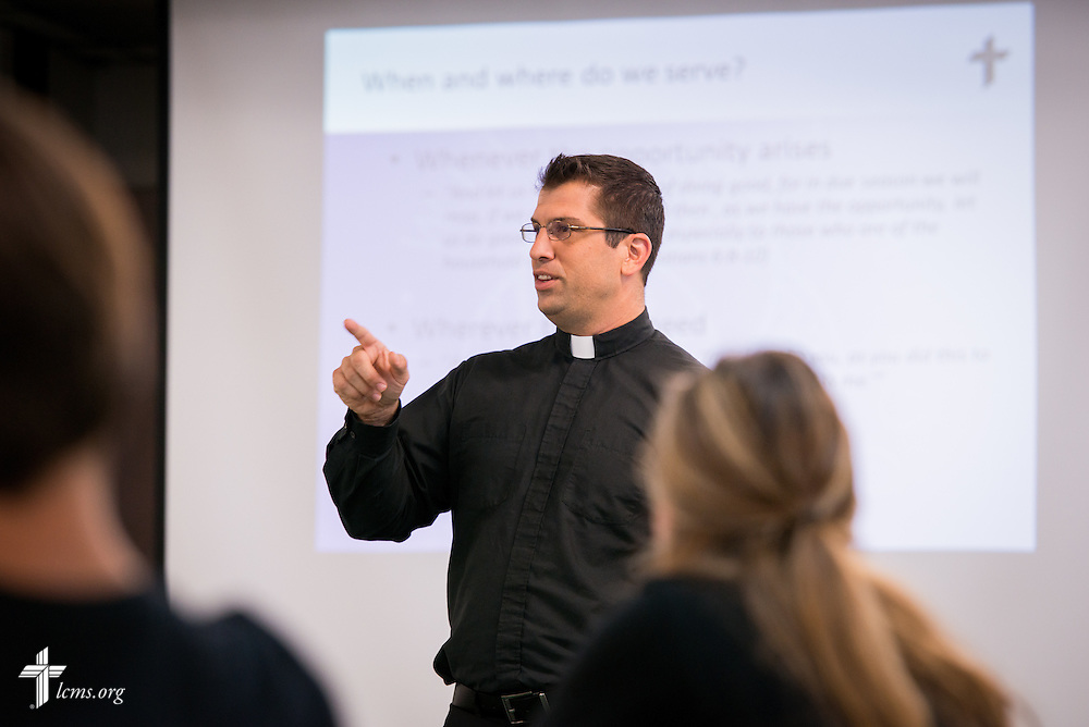 The Rev. Ross Johnson, director of LCMS Disaster Response, gives a presentation during the 2014 Youth Corps pilot project at Shepherd of the City Lutheran Church on Wednesday, August 13, 2014, in Philadelphia, Pa. LCMS Communications/Erik M. Lunsford