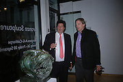 Tim Hoare and John Anstruther-Gough-Calthorpe. Bronze Sculpture by Georgiana Anstruther-Gough-Calthorpe. Air Gallery. Dover St. London. 27 September 2005. ONE TIME USE ONLY - DO NOT ARCHIVE © Copyright Photograph by Dafydd Jones 66 Stockwell Park Rd. London SW9 0DA Tel 020 7733 0108 www.dafjones.com