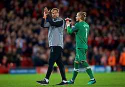 LIVERPOOL, ENGLAND - Tuesday, April 24, 2018: Liverpool's manager Jürgen Klopp and goalkeeper Loris Karius walk off the pitch after the 5-2 victory over AS Roma during the UEFA Champions League Semi-Final 1st Leg match between Liverpool FC and AS Roma at Anfield. (Pic by David Rawcliffe/Propaganda)