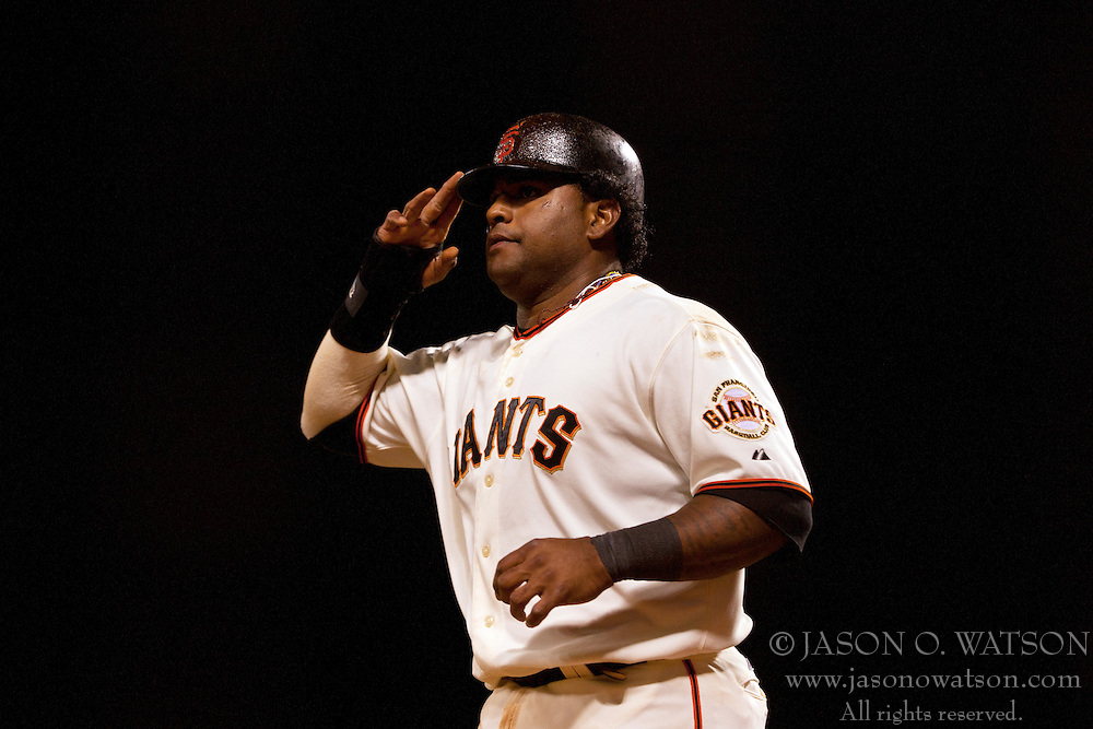 August 9, 2011; San Francisco, CA, USA;  San Francisco Giants third baseman Pablo Sandoval (48) celebrates after scoring a run against the Pittsburgh Pirates during the eighth inning at AT&T Park. San Francisco defeated PIttsburgh 6-0.