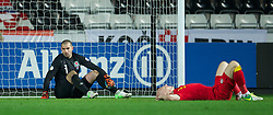 SWANSEA, WALES - Tuesday, March 26, 2013: Wales' goalkeeper Boaz Myhill and James Collins look dejected as Croatia score the equalising goal during the 2014 FIFA World Cup Brazil Qualifying Group A match at the Liberty Stadium. (Pic by David Rawcliffe/Propaganda)