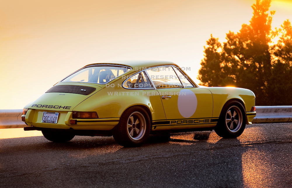 Image of a Light Yellow Porsche 1973 911S near San Francisco, California, America west coast