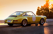 Image of a Light Yellow Porsche 1973 911S near San Francisco, California, America west coast