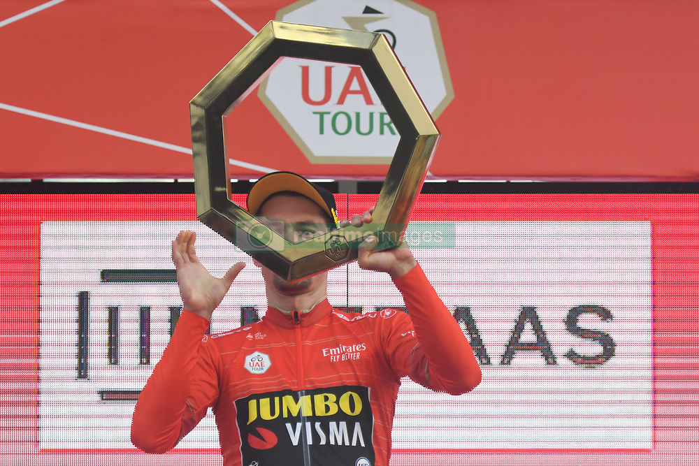 March 2, 2019 - Dubai, United Arab Emirates - Primoz Roglic of Slovenia and Team Jumbo - Visma, with the UAE Tour Trophy during the Awards Ceremony, after he wins the inagural edition of the UAE Tour. .On Saturday, March 2, 2019, in Dubai City Walk, Dubai Emirate, United Arab Emirates. (Credit Image: © Artur Widak/NurPhoto via ZUMA Press)