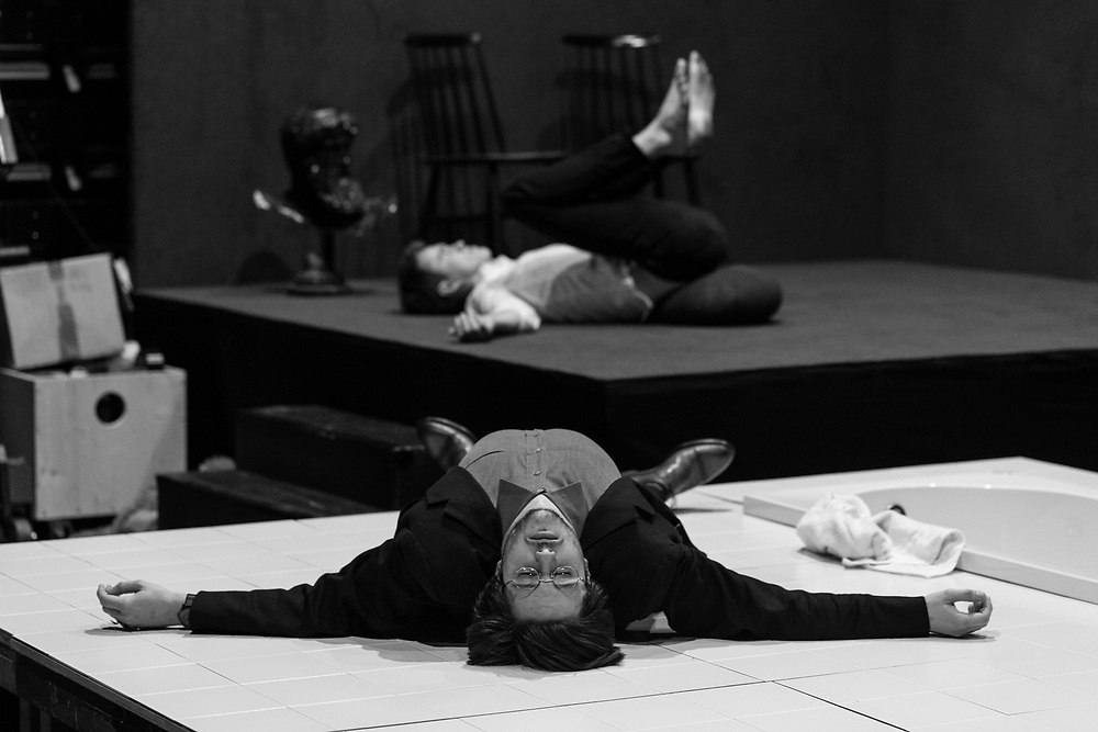 Jan Krmelj - student of theater directing relaxes before the AGRFT theater production Hamlet - Tragedy of Absence.<br /> <br /> <br /> This is the story about the moments before different productions of Academy for theater, radio, movie and television (AGRFT) and the students of acting or theater directing are caught in time of preparing for their productions.This time is most interesting for me to document their work because after that, production shots must be made...<br /> <br /> 17.5.2017, Predstava Hamlet, HAMLET, produkcija<br /> Tragedija Odsotnosti<br /> <br /> Hamlet - Urban Kuntarič<br /> Ofelija - Ur&scaron;a Kavčič<br /> Klavdij - Mario Dragojević<br /> Gertruda - Lea Cok<br /> *Sofiane Velkovrh<br /> <br /> <br /> Režiser: Jan Krmelj<br /> Dramaturginji: Katja Markič in Ana Laura Richter<br /> Scenografka: Karin Rajh<br /> Kostumografka: Katarina &Scaron;avs<br /> Oblikovalec zvoka: Ga&scaron;per Torkar<br /> Video: Tonja Bjelčevič in Ivana V. Vidali<br /> Svetovalec za gib: Žigan Krajnčan