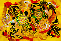 Abstract yellow swirls in bright colors with curls, round shapes and bended lines on yellow background