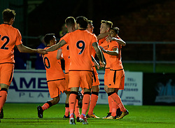 LEYLAND, ENGLAND - Friday, September 1, 2017: Liverpool's George Johnston celebrates scoring the first goal with team-mates during the Lancashire Senior Cup Final match between Fleetwood Town and Liverpool Under-23's at the County Ground. (Pic by Propaganda)
