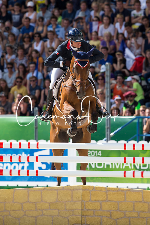 Maxime Livio, (FRA), Qalao Des Mers - Jumping Eventing - Alltech FEI World Equestrian Games™ 2014 - Normandy, France.<br /> © Hippo Foto Team - Leanjo De Koster<br /> 31-08-14