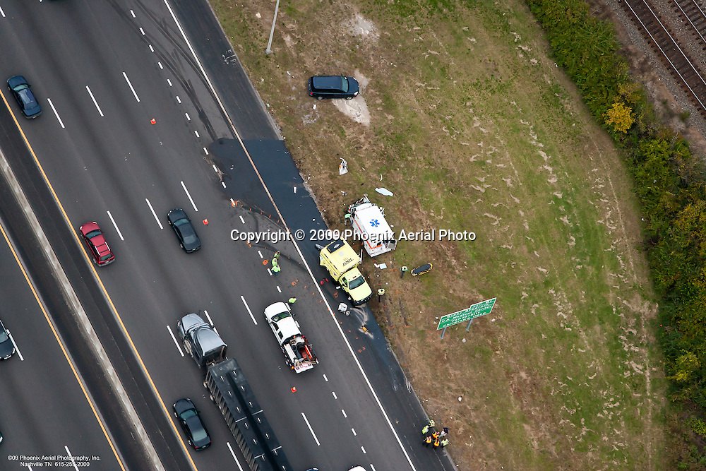 Aerial photo of a bizarre accident between a TDOT vehicle and an ambulance on Interstate 65 in Nashville Tennessee that resulted in two fatalities.
