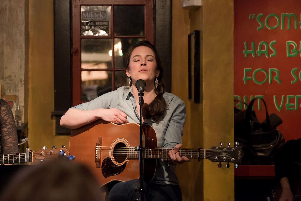 Songwriter Sutton Sorenson performing at Belcourt Taps in Nashville, TN