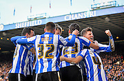 Sheffield Wednesday players celebrate  during the Sky Bet Championship match between Sheffield Wednesday and Leeds United at Hillsborough, Sheffield, England on 16 January 2016. Photo by Adam Rivers.