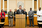 Dallas Mayor Mike Rawlings speaks during a press conference updating the community about the Ebola patient Thomas E. Duncan in Dallas, Texas on October 6, 2014. (Cooper Neill for The Texas Tribune)