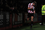 Danny Wright celebrates his goal during the Vanarama National League match between Cheltenham Town and Chester City at Whaddon Road, Cheltenham, England on 5 December 2015. Photo by Antony Thompson.