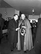 19/03/1961<br /> 03/19/1961<br /> 19 March 1961<br /> Papal Legate Cardinal James Francis McIntyre from Los Angeles departing from Dublin Airport having been in Ireland for the Patrician year celebrations that were held to commemorate 1,500 years of devotion to St Patrick in Ireland. Here Taoiseach Sean Lemass (left) bids the Cardinal farewell at the airport.