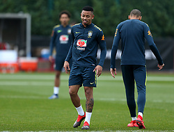 Brazil's Gabriel Jesus during the training session at London Colney, Hertfordshire.