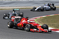 05 VETTEL sebastian (ger) ferrari sf15t action<br /> 44 HAMILTON lewis (gbr) mercedes gp mgp w06 action during 2015 Formula 1 FIA world championship, Spain Grand Prix, at Barcelona Catalunya from May 8th to 10th. Photo Gregory Lenormand / DPPI