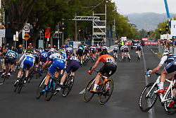 The peloton twists and turns during Stage 4 of 2020 Santos Women's Tour Down Under, a 42.5 km road race in Adelaide, Australia on January 19, 2020. Photo by Sean Robinson/velofocus.com