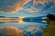 Pakwash Lake reflecction at sunset<br />Pakwash Lake Provincial Park<br />Ontario<br />Canada