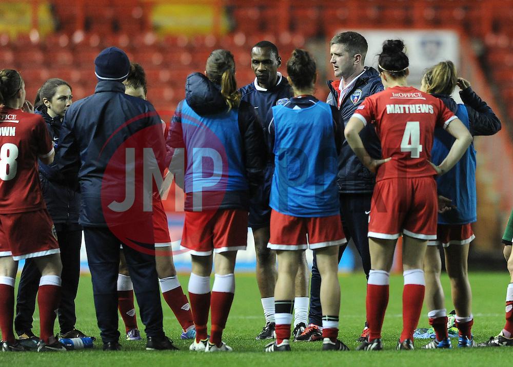 Bristol Academy Womens manager, Dave Edmondson leads a team talk after the game on the pitch - Photo mandatory by-line: Dougie Allward/JMP - Mobile: 07966 386802 - 16/10/2014 - SPORT - Football - Bristol - Ashton Gate - Bristol Academy v Raheny United - Women's Champions League