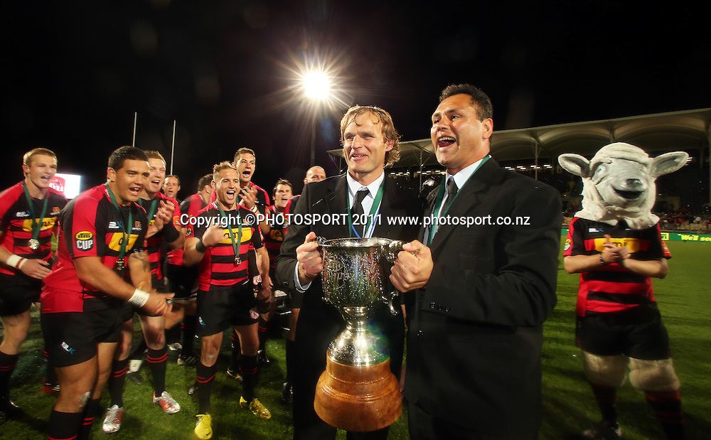 Canterbury coaches Scott Robertson and Tabai Matson with the ITM CUP. Auckland v Canterbury. ITM CUP Rugby Final, AMI Stadium, Christchruch. Saturday 27 October 2012. Joseph Johnson/photosport.co.nz